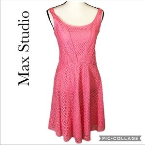 Max Studio lace fit & flare dress pink S